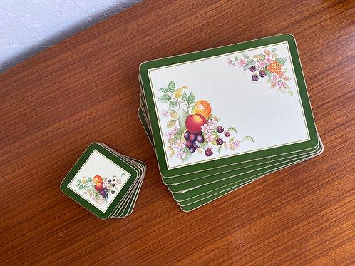 Vintage Cloverleaf 'Fresh Fruit' Placemats & Coasters