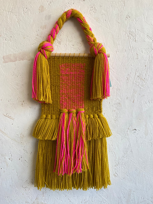 Mustard and Pink Wall Hanging - Warp Weft Weave