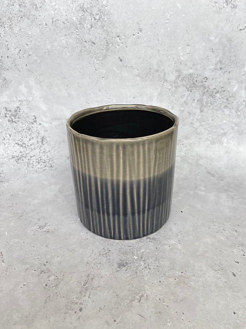 Black & Khaki Plant Pot