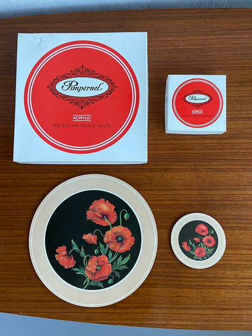 Pimpernel 'Field Poppy' Placemats & Coasters