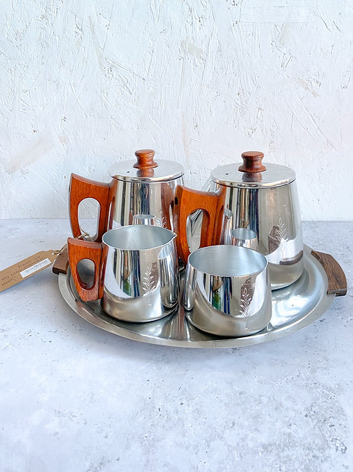 Vintage Sona Stainless Steel and Teak Tea Set