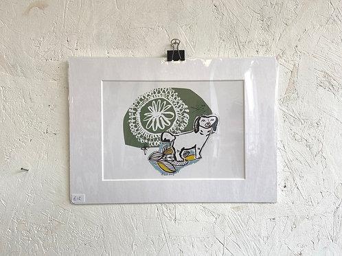 Mounted Dog Print by Tulu Draws