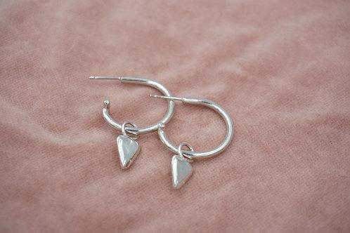 Small Heart Open Hoop Earrings