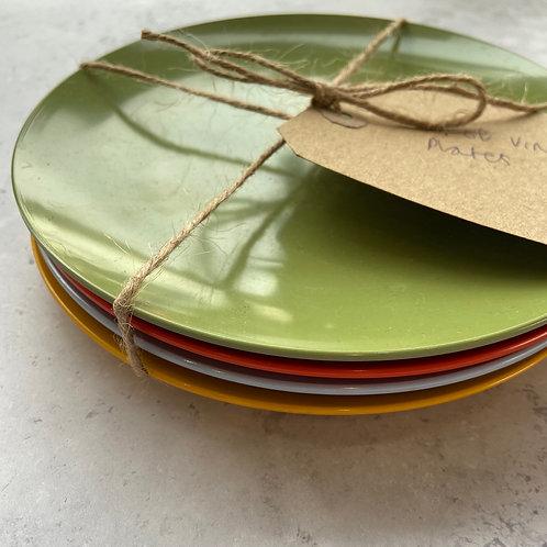 Set of 4 Retro Coloured Melamine Plates