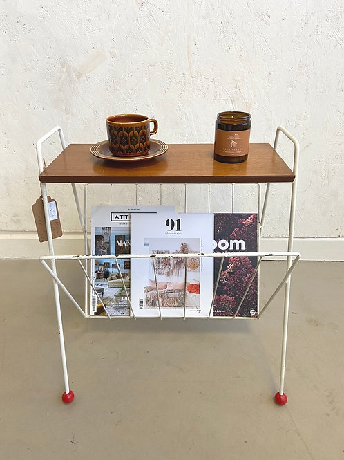 Vintage Atomic Magazine Rack / Occasional Table With Wooden Shelf c.1960's