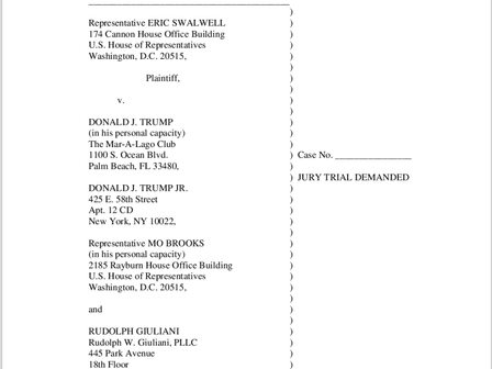Eric Swalwell Repping U.S. sueing the lawsuit man Donald Trump
