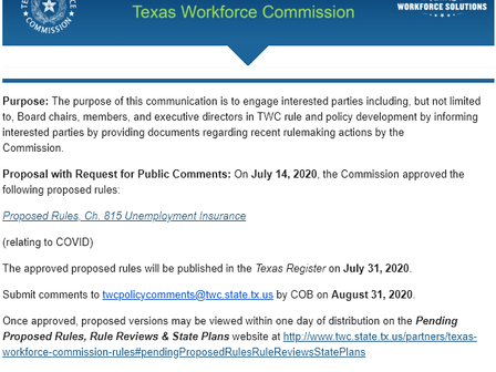 Texas pleads for opinions on benefits extension cancelled