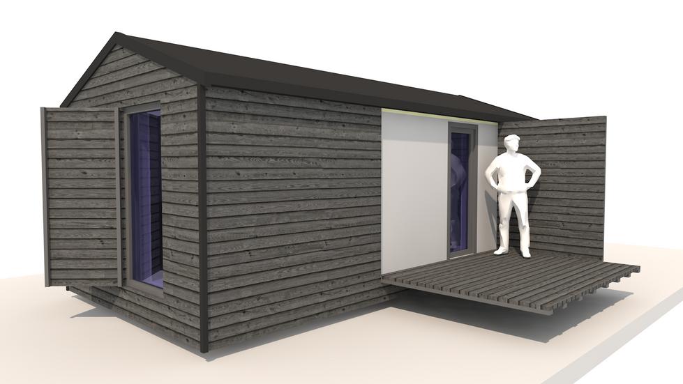 NIDUS Dove vedere din fata | Casa modulara de vacanta | Transportabila oriunde in Europa