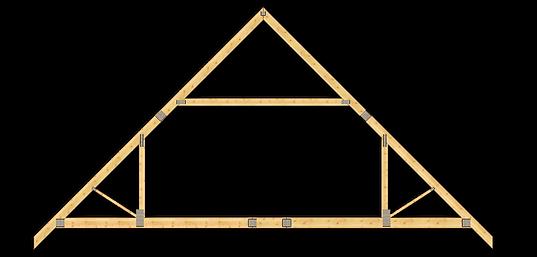 Ferme din lemn pentru acoperis mansardă în două ape. Structură acoperis din lemn pentru mansardă în două ape cu streașină