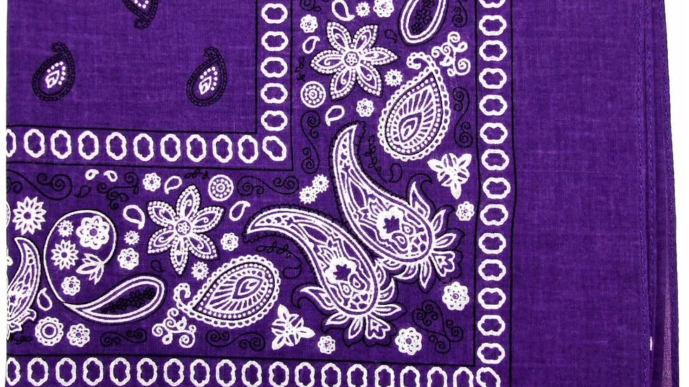 Kaiser Collection Double Sided Paisley Bandanas-PURPLE