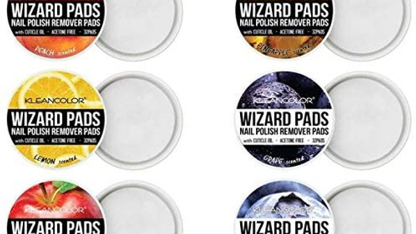 KLEANCOLOR Wizard Pads Nail Polish Remover Pads - 6 Pack-32 Pads of Each