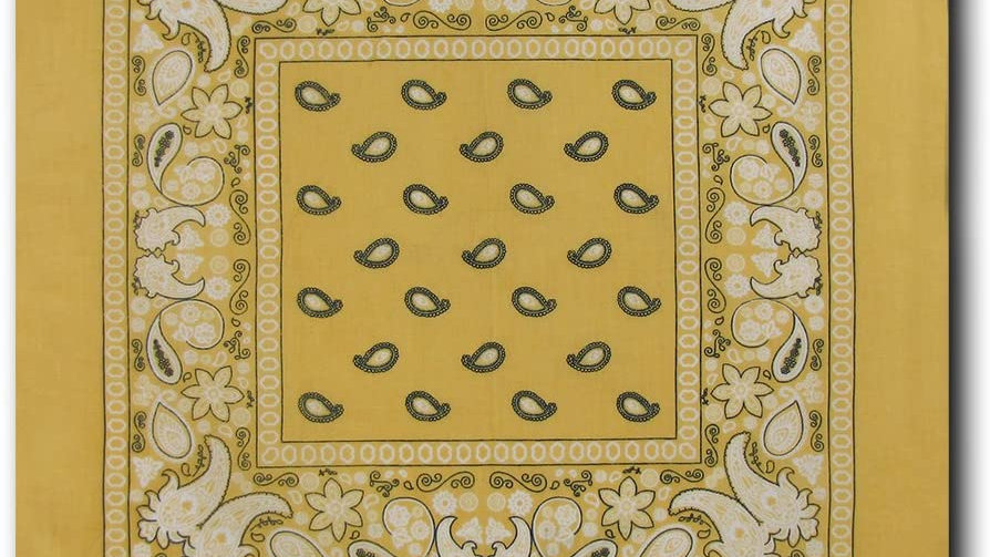 Kaiser Collection Double Sided Paisley Bandanas-YELLOW