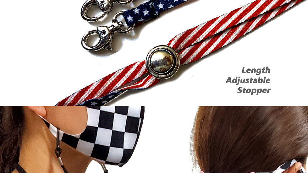 2-pc Fashion Lanyard Strap for Face Mask with Adjustable Stopper