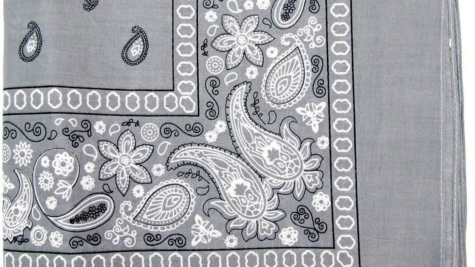 Kaiser Collection Double Sided Paisley Bandanas-LIGHT GREY