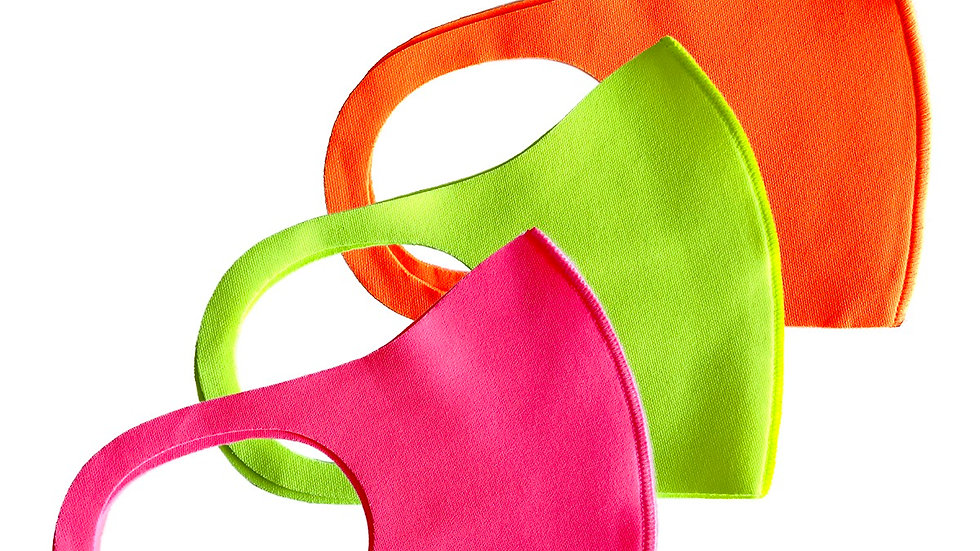 3-pcs Neon color Washable Reusable Face Masks made in Korea