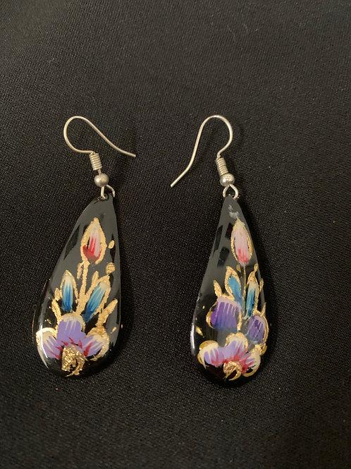 hand painted copper earrings- black teardrop