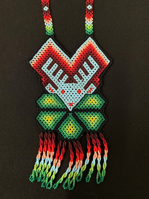 Huichol Beaded Necklace - red/green/blue deer