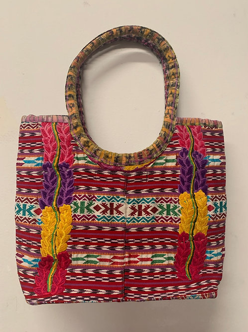 Handwoven and Embroidered bag- multicolor with pink, red, purple, yellow