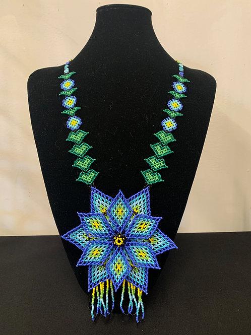 Huichol Beaded Necklace -3d blue flower