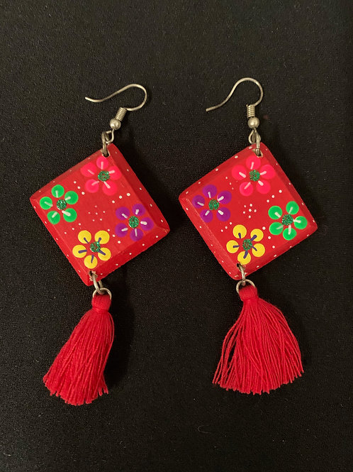 Huichol hand painted earrings- red diamond