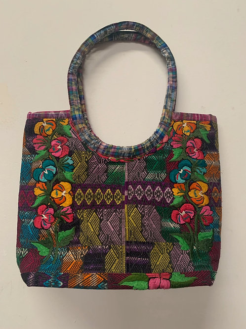 Handwoven and Embroidered bag- multicolor with pink, yellow, turquoise
