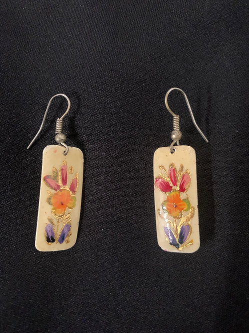 hand painted copper earrings- white rectangle