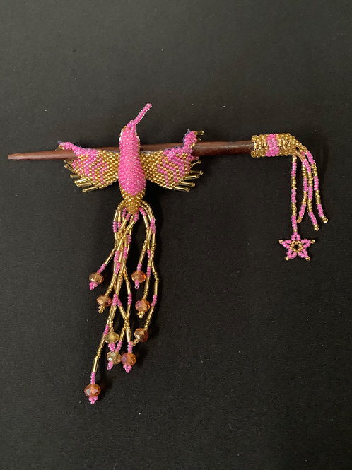 Hummingbird Hairstick- Pink/Gold