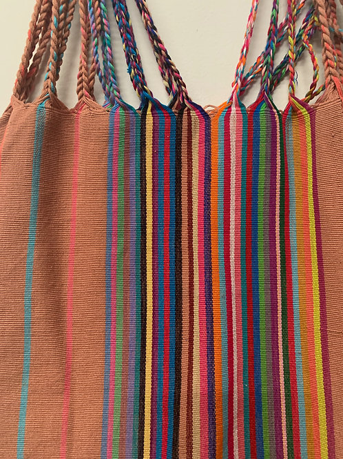Handwoven cotton bag- multicolor on beige