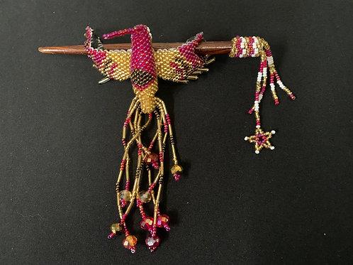 Hummingbird Hairstick- maroon/gold