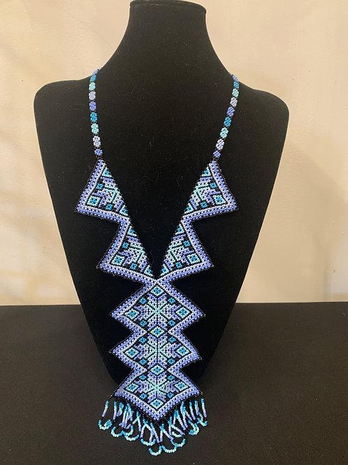 Huichol Beaded Necklace - geometric purple/blue