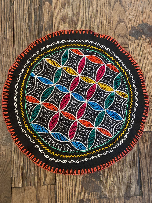 Round Shipibo Tapestry- Flower of Life