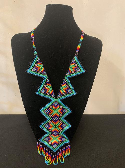 Huichol Beaded Necklace- geometric rainbow