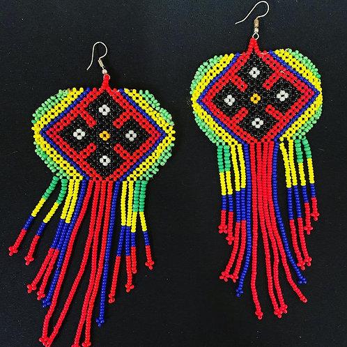 Large Shipibo Beaded Earrings