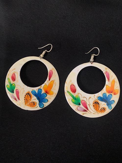 hand painted copper earrings- white hoops