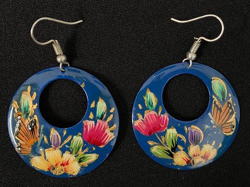 hand painted copper earrings- blue hoops