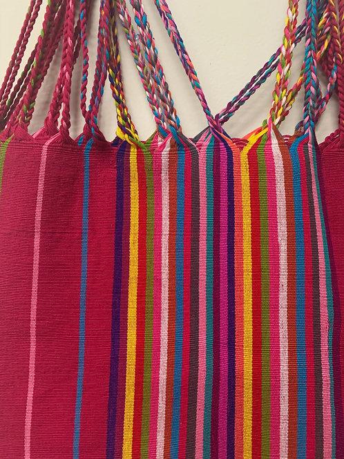 handwoven cotton bag- mauve with multicolor