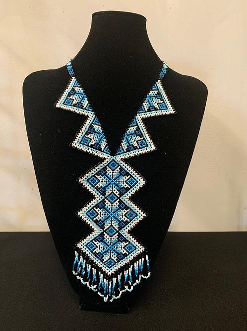 Huichol Beaded Necklace - geometric blue/white