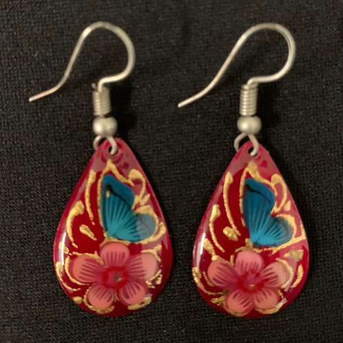 hand painted copper earrings- red teardrop