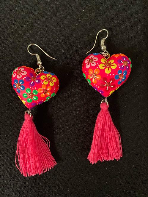 Huichol hand painted Earrings - pink glitter hearts