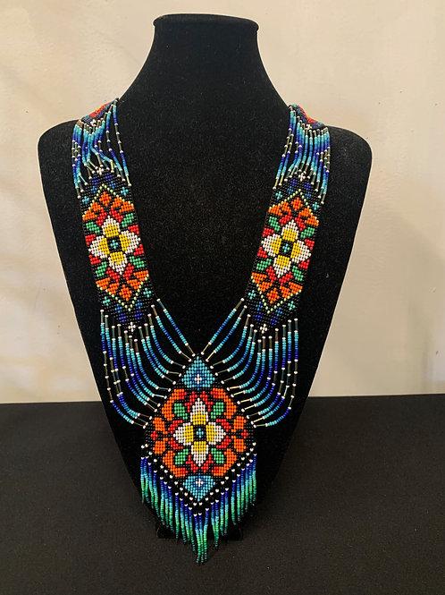 Huichol Beaded Necklace - blues/orange flower