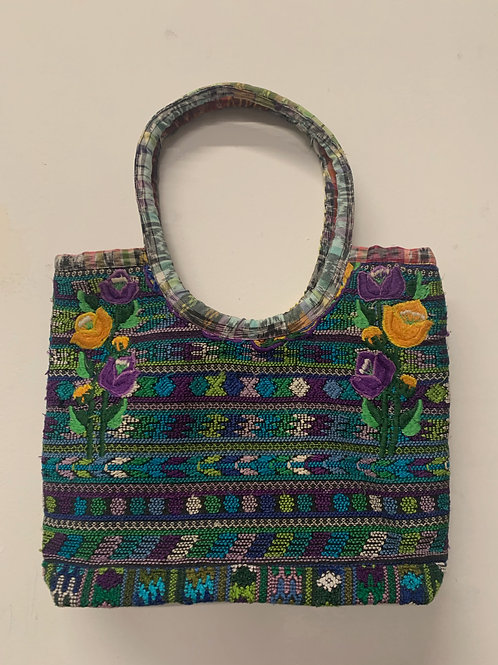 Handwoven and Embroidered bag- multicolor with purple & yellow