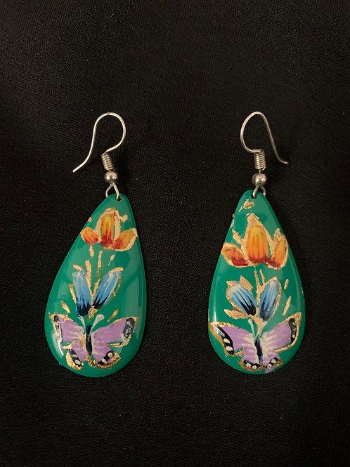 hand painted copper earrings- green teardrop