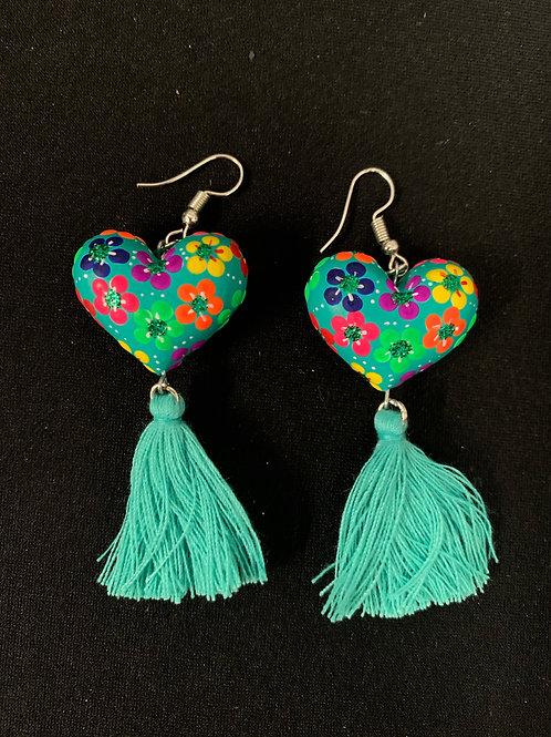 Huichol hand painted Earrings- green glitter hearts