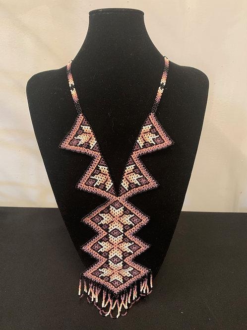 Huichol Beaded Necklace- geometric pink/purple