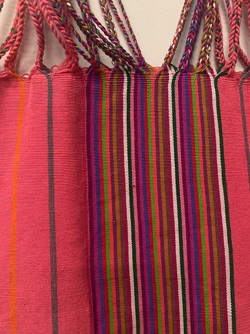 Handwoven cotton bag- peach multicolored