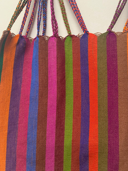 Handwoven cotton bag- multicolored with earth tones