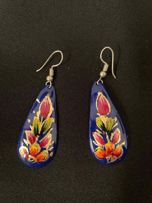 hand painted copper earrings- blue teardrop