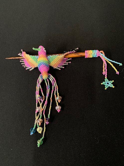 Hummingbird Hairstick- pastel rainbow