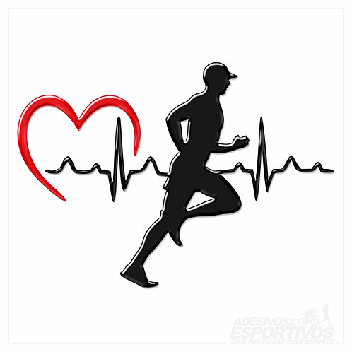 Adesivo Emblema Corredor Batimentos Cardíacos
