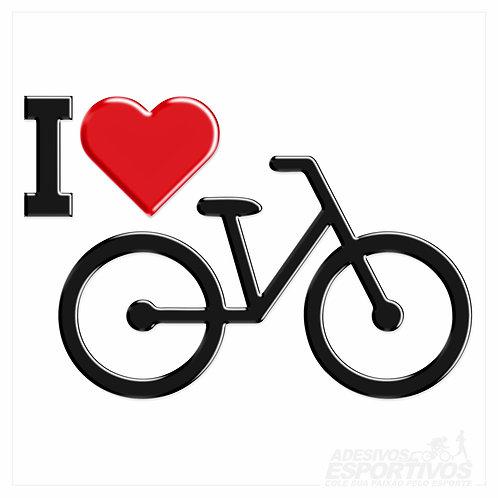 Adesivo Emblema Eu amo Bike Resinado 3D